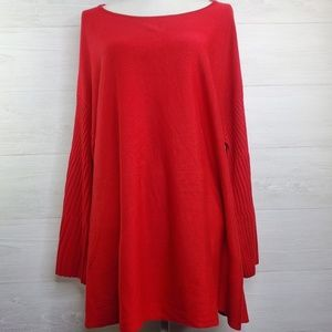 Lane Bryant Nwt Red Seeater with Bell Sleeves